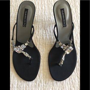 Claudia Ciutti black satin heels w/ rhinestones